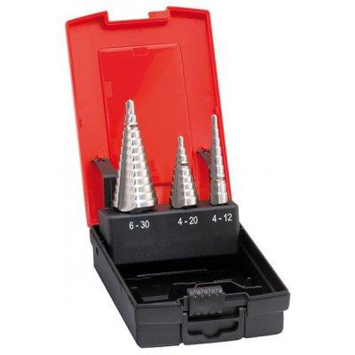 Sada stupňovitých vrtáků HSS 4-12/4-20/6-30mm FORMAT