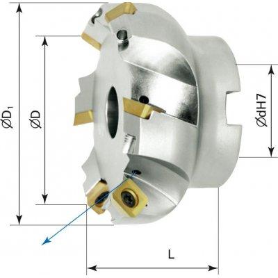 Rovinná nástrčná fréza vnitřní chlazení 45° Z3 SEET/SEEW D40mm - obrázek