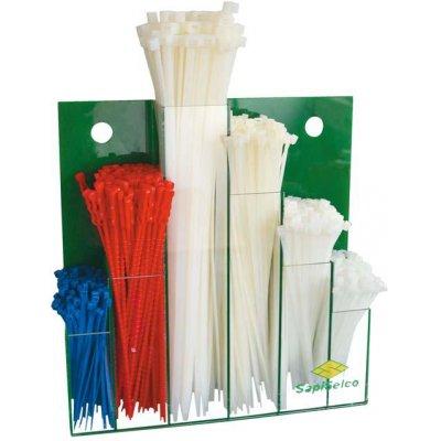 Sada vázací pásky na kabely, nylon, nástěnný displej, 600 ks. SapiSelco