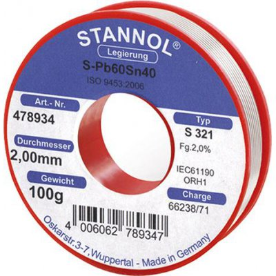 Pájecí drát 478934 100g O2mm Stannol