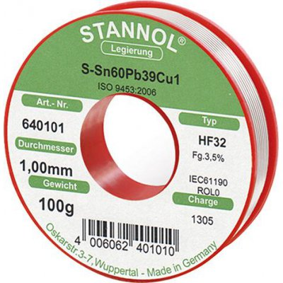 Pájecí drát na elektronické moduly 640101 100g O1mm Stannol