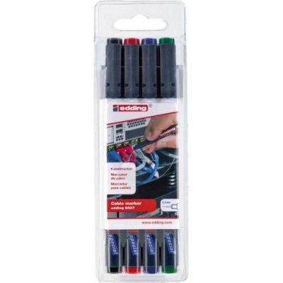 Sada značkovače kabelů edding 8407 černá, červená, modrá, zelená edding