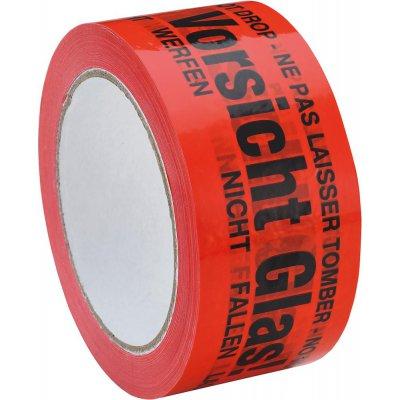 """Lepicí páska PVC 50 mm x 66 m """"Opatrně sklo"""" ve 4 jazycích"""