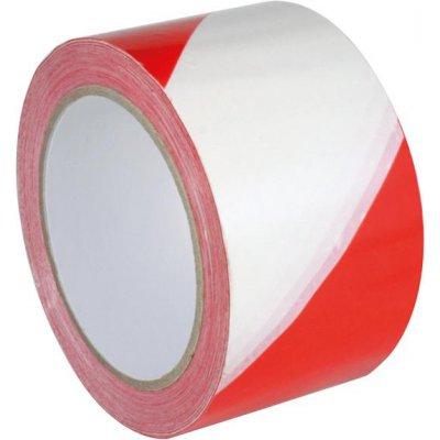 Výstražná značící páska PVC samostaně lepicí 60 mm x 66 m červená/bílá