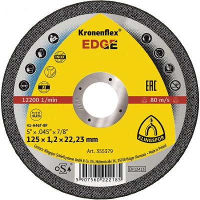 Řezný kotouč pro obrábění nerezu ahliníku EDGE Special 115x1,2mm rovný Klingspor