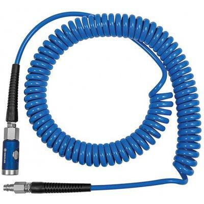 Spirál.hadice PU modrá, bezpec.spojka akonektor NW7,4 12x8mm7,5m RIEGLER